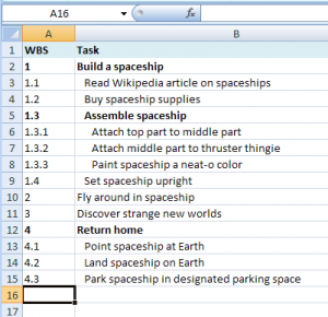 Project plan screenshot